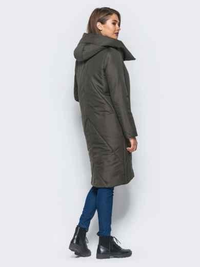 Зимняя стеганая куртка с капюшоном зеленая - 15664, фото 3 – интернет-магазин Dressa