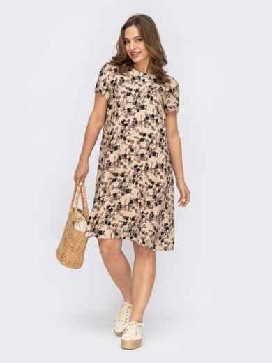 Платье-трапеция из штапеля с цветочным принтом бежевое 53763, фото 1