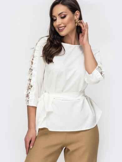 Блузка батал молочного цвета с гипюровыми вставками 44655, фото 1