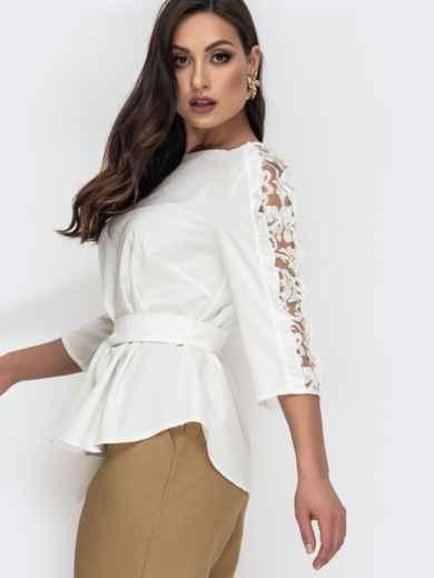Блузка батал молочного цвета с гипюровыми вставками 44655, фото 2