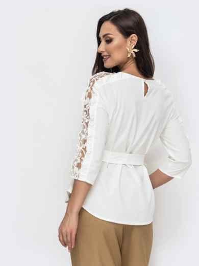 Блузка батал молочного цвета с гипюровыми вставками 44655, фото 3