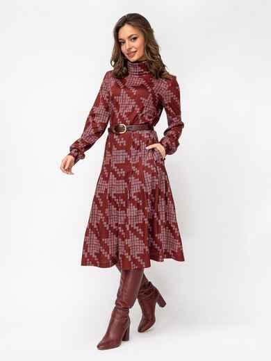 Бордовое платье в крупную «гусиную лапку» с воротником-гольф 52931, фото 1