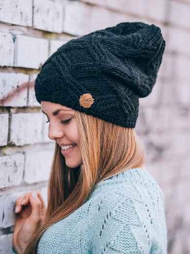 Черная шапка с ажурной вязкой - 14769, фото 1 – интернет-магазин Dressa