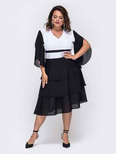 Черное платье батал с контрастными вставками 49860, фото 1