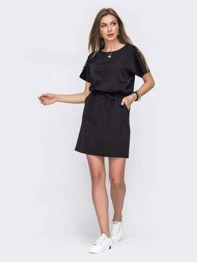 Черное платье с кулиской по талии 49620, фото 1