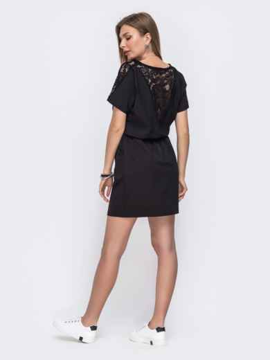 Черное платье с кулиской по талии 49620, фото 2
