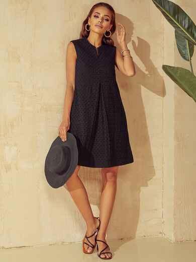 Черное платье-трапеция со встречными складками по полочке 53949, фото 1