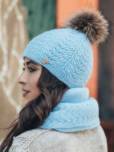 Голубой комплект из шапки и шарфа-палантина - 14942, фото 2 – интернет-магазин Dressa
