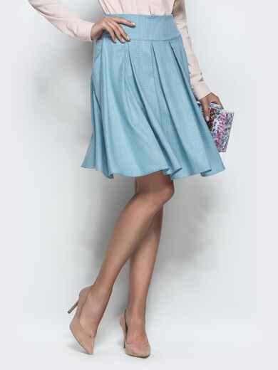 Льняная юбка с бантовыми складками и карманами голубая 39806, фото 1