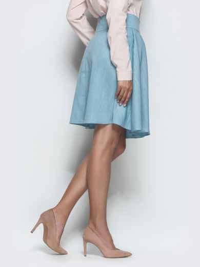 Льняная юбка с бантовыми складками и карманами голубая 39806, фото 2