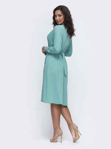 Мятное платье батал с отложным воротником и карманами 49980, фото 2