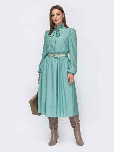 Мятное платье из шифона с подкладкой и воротником-аскот 52364, фото 1