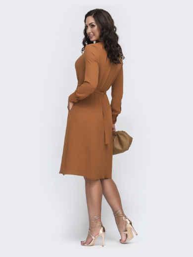 Оранжевое платье батал с отложным воротником и карманами 49981, фото 2