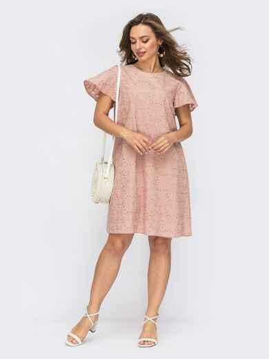 Платье до колена из прошвы цвета пудры 53762, фото 1