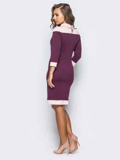 Платье-футляр с контрастной кокеткой и атласным бантом бордовое - 15634, фото 3 – интернет-магазин Dressa