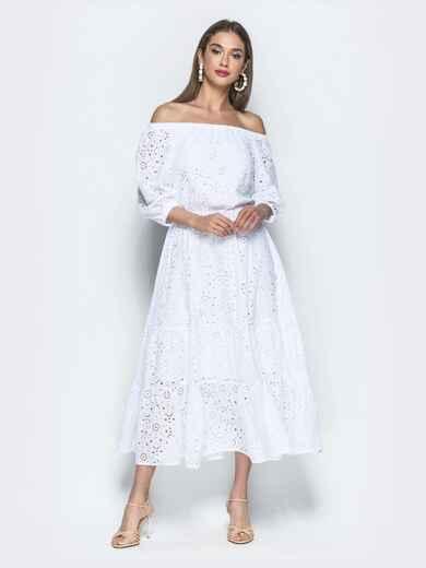 Платье-макси из прошвы с вырезом и манжетами на резинке 39396, фото 1