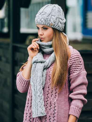 Светло-серый комплект крупной вязки с «косами» - 14897, фото 1 – интернет-магазин Dressa