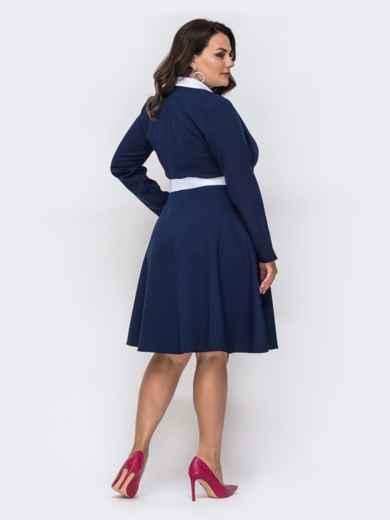 Темно-синее платье батал с контрастными воротником 49861, фото 2