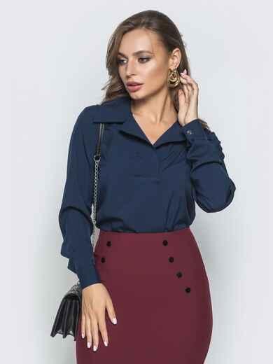 Тёмно-синяя блузка из софта с отложным воротником 39930, фото 1