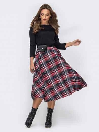 Трикотажное платье с юбкой из костюмной ткани чёрное - 42008, фото 1 – интернет-магазин Dressa