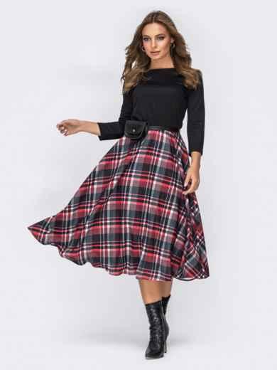 Трикотажное платье с юбкой из костюмной ткани чёрное - 42008, фото 2 – интернет-магазин Dressa