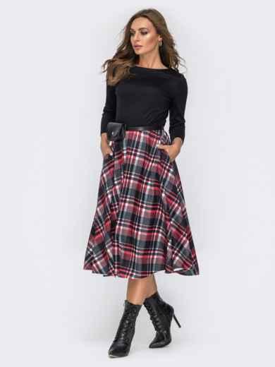 Трикотажное платье с юбкой из костюмной ткани чёрное - 42008, фото 3 – интернет-магазин Dressa