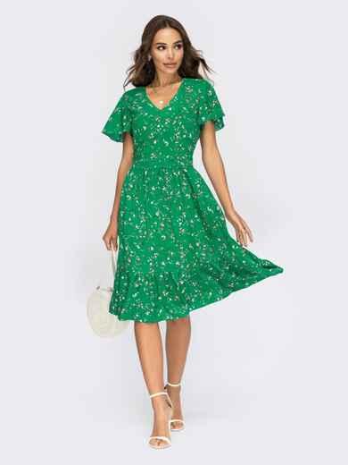 Зелёное платье с V-образным вырезом горловины 53948, фото 1