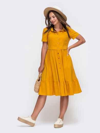 Желтое платье-рубашка из костюмной ткани с расклешённой юбкой 49621, фото 1