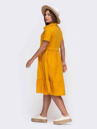 Желтое платье-рубашка из костюмной ткани с расклешённой юбкой 49621, фото 2