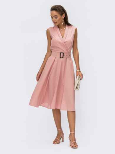 Расклешенное платье в горох с поясом пудровое 54321, фото 1