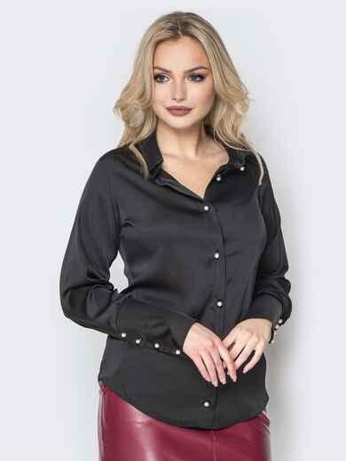 Чёрная шелковая блузка с пуговицами на широких манжетах - 19776, фото 1 – интернет-магазин Dressa