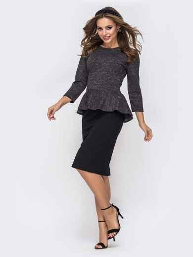 Чёрное платье-футляр с люрексовой нитью и баской по талии 42787, фото 1
