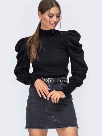 Черный вязаный свитер с воротником и складами на рукавах 50405, фото 1