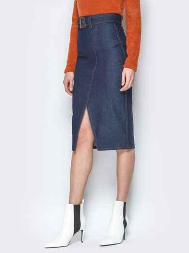 Джинсовая юбка-карандаш с поясом и разрезом 19769, фото 2