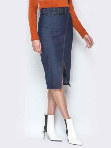 Джинсовая юбка-карандаш с поясом и разрезом 19769, фото 1