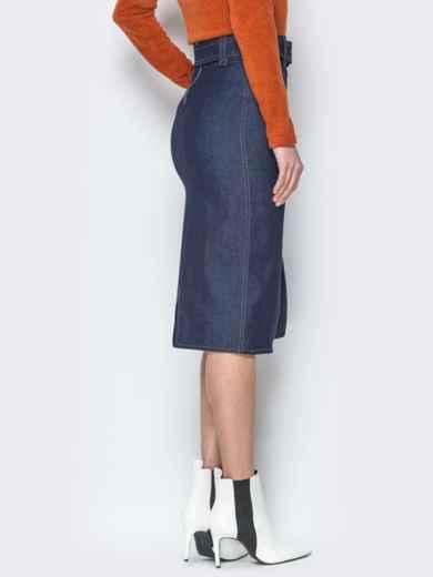 Джинсовая юбка-карандаш с поясом и разрезом 19769, фото 3