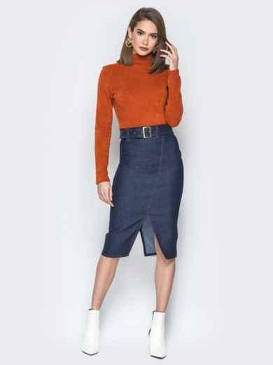 Джинсовая юбка-карандаш с поясом и разрезом 19769, фото 4