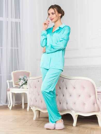 Голубая пижама с рубашкой и брюками - 18951, фото 1 – интернет-магазин Dressa