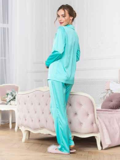 Голубая пижама с рубашкой и брюками - 18951, фото 2 – интернет-магазин Dressa
