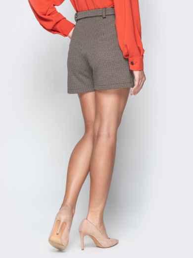 Коричневые шорты с накладными карманами и поясом - 20645, фото 2 – интернет-магазин Dressa