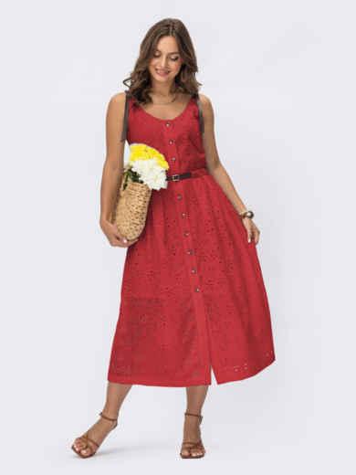 Красное платье из прошвы с пуговицами 54878, фото 1