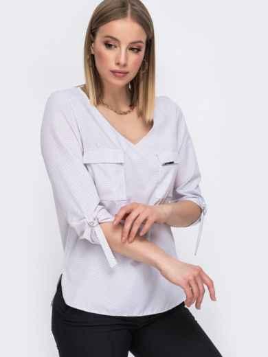 Молочная блузка с V-вырезом и накладными карманами 45577, фото 2