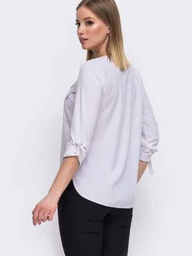 Молочная блузка с V-вырезом и накладными карманами 45577, фото 3