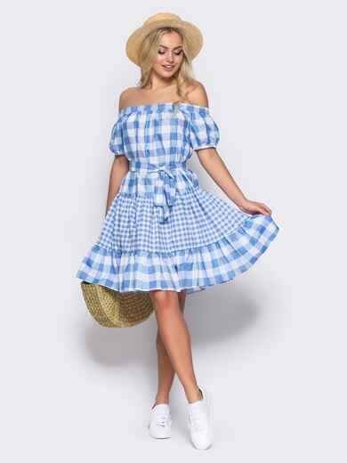 Платье с эластичной деталью по горловине и поясом в комплекте голубое - 10901, фото 1 – интернет-магазин Dressa