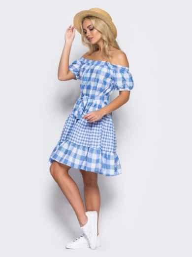 Платье с эластичной деталью по горловине и поясом в комплекте голубое - 10901, фото 2 – интернет-магазин Dressa