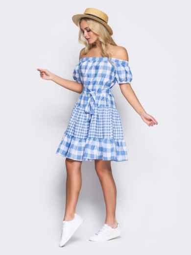 Платье с эластичной деталью по горловине и поясом в комплекте голубое - 10901, фото 7 – интернет-магазин Dressa