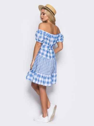 Платье с эластичной деталью по горловине и поясом в комплекте голубое - 10901, фото 8 – интернет-магазин Dressa