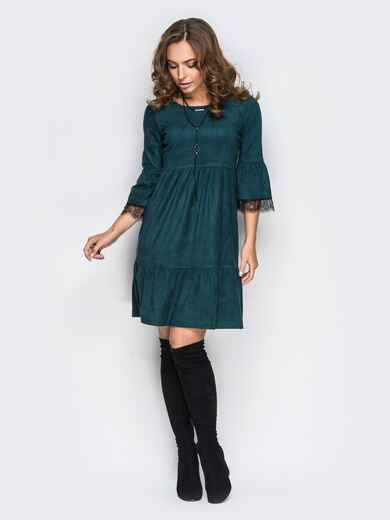 Платье с оборкой по низу и кружевом на рукавах зелёное - 11733, фото 1 – интернет-магазин Dressa