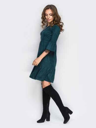 Платье с оборкой по низу и кружевом на рукавах зелёное - 11733, фото 2 – интернет-магазин Dressa