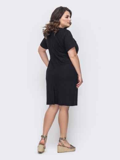 Приталенное платье батал чёрного цвета 46416, фото 2